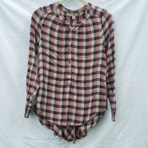 Lucky Brand Red Blue Plaid Long Sleeve Pleated Top